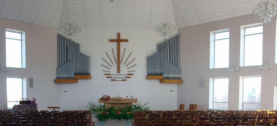 Внутреннее убранство Новоапостольской церкви города Мозыря